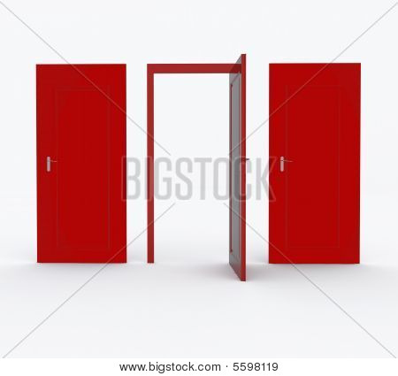 Three Red Doors