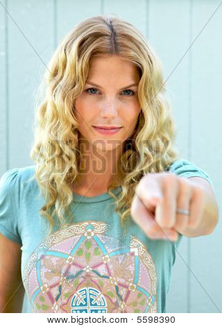 Pretty Girl Pointing Her Finger Accusingly