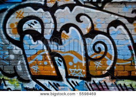 Abstract Graffiti on the textured wall