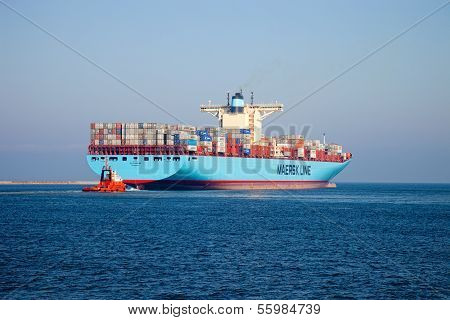 Container Ship and Tugboat.
