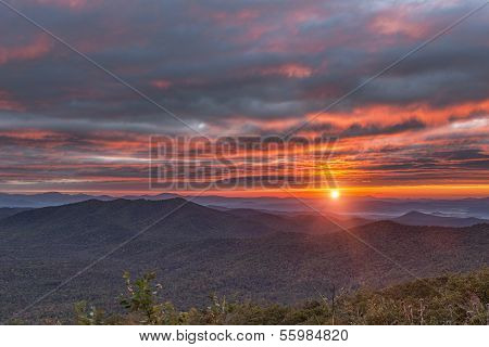 Sunrise on the Blue Ridge Parkway at Pounding Mill Overlook near Asheville North Carolina WNC