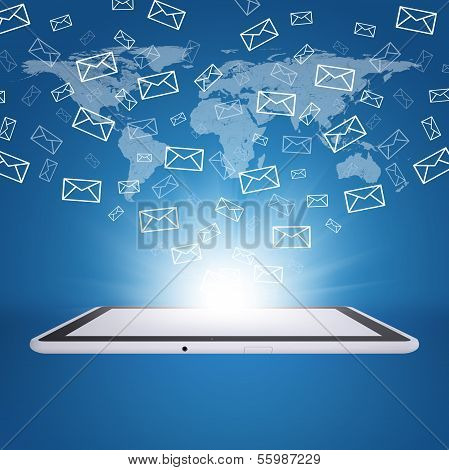Emails fly out of tablet pc screen