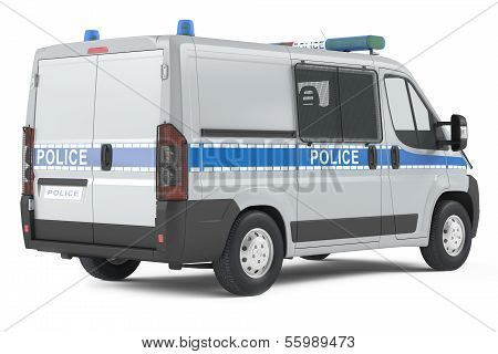 police car back isolated