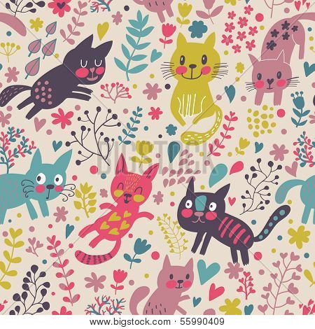 Childish seamless pattern with funny cats in hearts and flowers. Beautiful childish background. Seamless pattern can be used for wallpaper, pattern fills, web page background,surface textures