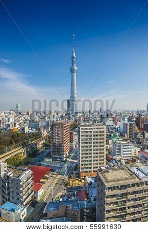 TOKYO, JAPAN - FEBRUARY 21, 2013: Tokyo, Japan skyline with Tokyo Skytree. The Skytree is the world's second tallest structure at a height of 634.0 meters.