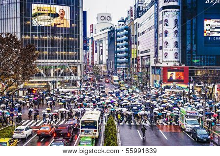 TOKYO, JAPAN - DECEMBER 15, 2012: Pedestrians sheild themselves from rain with umbrellas at Shibuya Crossing. The intersection is known as the busiest in the world.