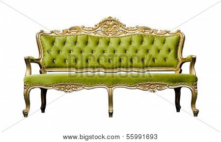Vintage Luxury Green Sofa Armchair Isolated On White