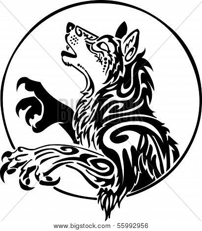 Tribal Predators wolf with oval flame