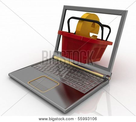 Basket of visit of shop with e-commerce sign in a notebook. Concept of purchases of commodities in the Internet in the whole world. 3d illustration.