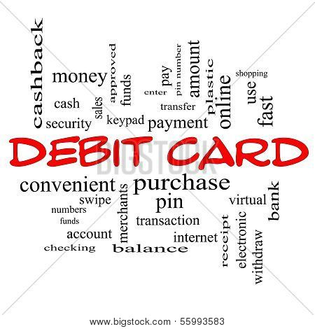 Debit Card Word Cloud Concept In Red Caps