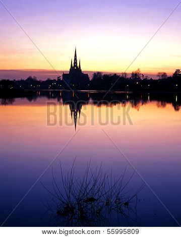 Stowe Pool and Cathedral, Lichfield, UK.