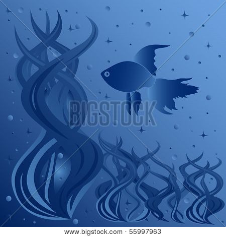 Composition Of Fish Floating Around Aquatic Plants