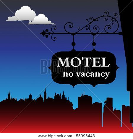 Motel with no vacancy sign
