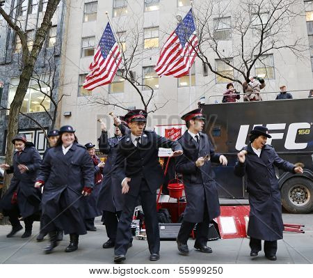 Salvation Army soldiers perform for collections in midtown Manhattan