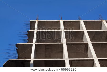 Monolithic Facade Of The House Under Construction