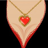 Decollete with jewel heart poster