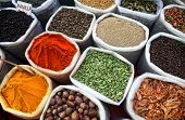 image of flea  - Indian colored spices at Anjuna flea market in Goa India - JPG