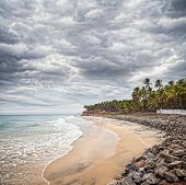 Tropical Beach With Dramatic Sky