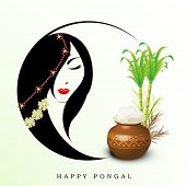 stock photo of pongal  - Illustration of a beautiful woman with pongal rice in a traditional mud pot on floral design called rangoli on occasion of Happy Pongal - JPG