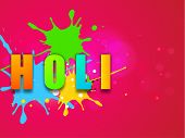 Indian color festival Holi celebration background with colorful stylish text on grungy colors backgr