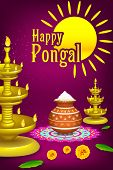image of kalash  - illustration of Happy Pongal greeting background - JPG