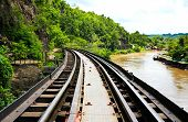 stock photo of dead-line  - Dead railway beside cliff along Kwai river in Thailand - JPG