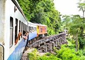 foto of dead-line  - Dead railway beside cliff along Kwai river in Thailand - JPG