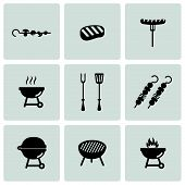 pic of grilled sausage  - Vector black barbecue icons set on white background - JPG