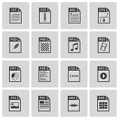 image of png  - Vector black file type icons set on white background - JPG
