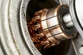 pic of dynamo  - Commutator a part of the electric motor used to drive the car wipers - JPG