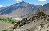 picture of himachal  - Panorama of Dhankar village and gompa with high himalays and river valley in background in Spiti valley Himachal Pradesh India - JPG