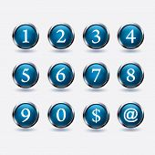 foto of numbers counting  - set of buttons with number on white background - JPG