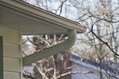 picture of gutter  - Close up of a rain gutter in early Spring - JPG