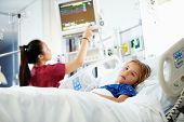 foto of intensive care unit  - Young Girl With Female Nurse In Intensive Care Unit - JPG