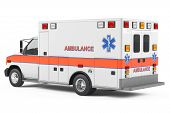 pic of ambulance car  - Ambulance car back at the white background - JPG
