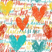 Stylish concept seamless pattern made of hearts and romantic handwritten words in vector. Seamless p
