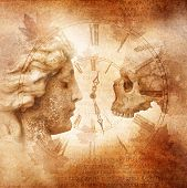 image of memento  - Female profile and skull facing each other across an antique clock dial against a grunge background of weathered Latin script and autumn leaves denoting memento mori - JPG