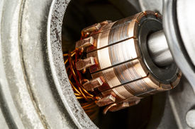image of dynamo  - Commutator a part of the electric motor used to drive the car wipers - JPG
