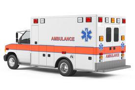 pic of ambulance  - Ambulance car back at the white background - JPG