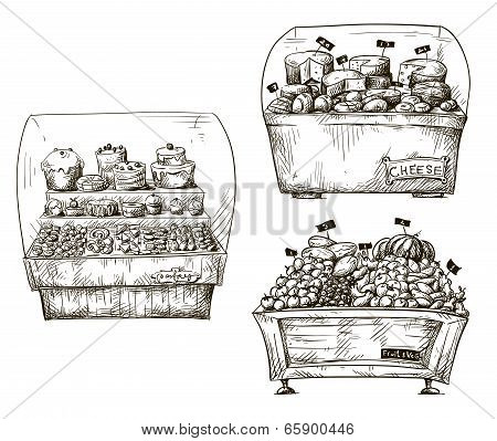 Hand drawn counters with bakery, fruit and vegetables, cheese. Shopwindow vector illustration.