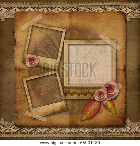 Old Grunge Photo Frame With Roses, Lace, Watch