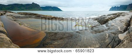 Summer Senja Coast Panorama (jagged Ersfjord, Norway )