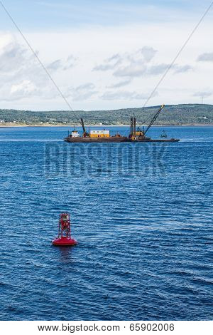 Red Channel Marker And Working Barge