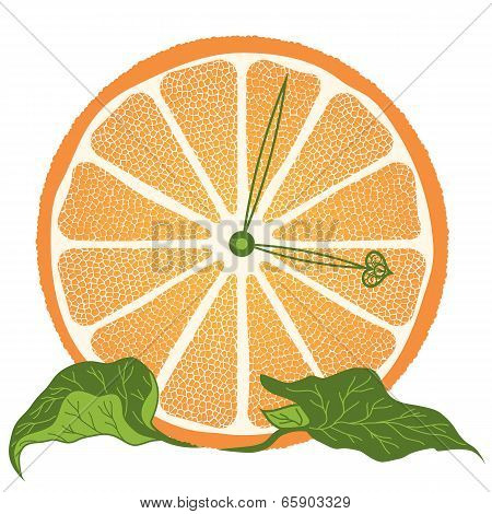 Slice Of Orange As Clock