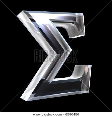 Sigma symbol in glass (3d)
