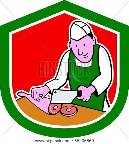 Butcher Chopping Meat Shield Cartoon