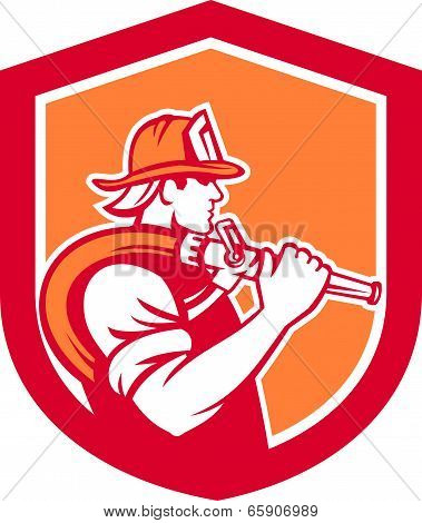 Fireman Firefighter Holding Fire Hose Shoulder Shield
