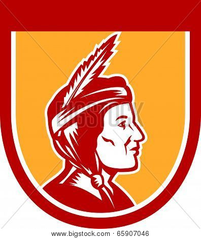 Native American Indian Chief Shield Retro