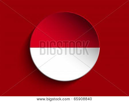 Flag Paper Circle Shadow Button Monaco