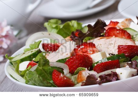 Tasty And Healthy Salad Of Strawberries, Chicken, Vegetables